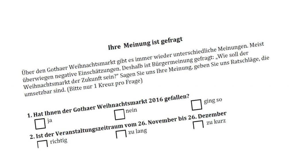Gothaer Weihnachtsmarkt – Ihre Meinung ist gefragt ! (Jetzt online)